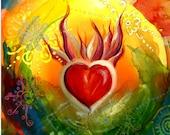 Sacred Heart watercolor blank greeting card