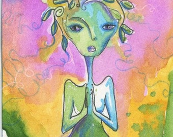 Mother Earth Art Painting Giclee Print 6.5x9 Pink Blue Green