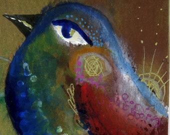 Blue Bird Painting 2x3.5 ACEO print Bird Watercolor Songbird Art
