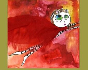 Super Mom Blank Art Card SuperHero Painting Greeting Card