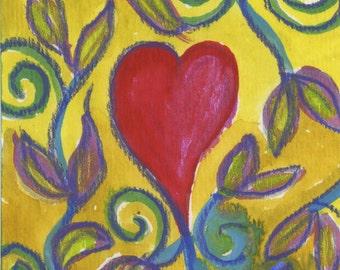 Jungle Sacred heART blank greeting card handpainted