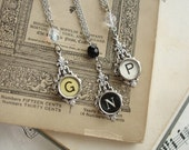 Typewriter Key Jewelry - CUSTOM Made To Order Vintage Typewriter Key Necklace. Art Deco Setting with Sparkling Crystal and Silver Chain.