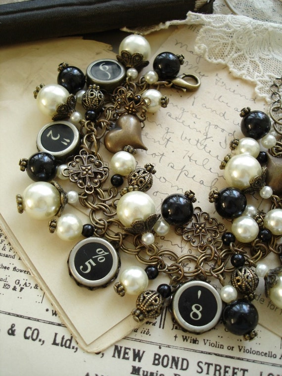 Typewriter Key Jewelry - Antiqued Brass, Ivory, Black. Upcycled Vintage Assemblage Charm Bracelet. Typewriter Key Bracelet. Rustic Jewelry.