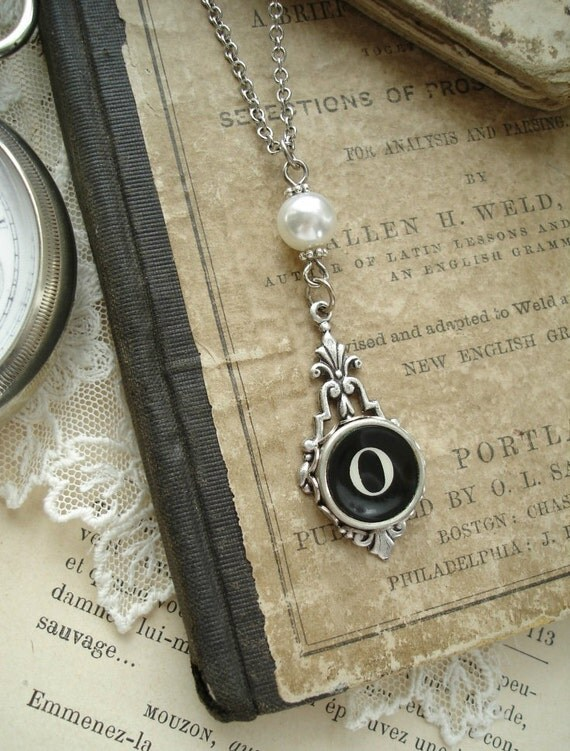 Typewriter Key Jewelry - Black Letter O Necklace. Vintage Typewriter Key Necklace. Antique Silver with White Glass Pearl. Monogram Necklace.