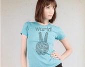 Womens World Peace tshirt - Alternative Apparel t shirt