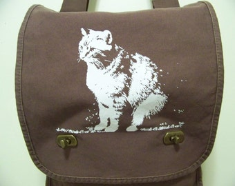 Crossbody bag, cat lady, for the cat lover, cat purse, canvas field bag, Abby bag, gift for her, crazy cat lady, cat purse, rctees original
