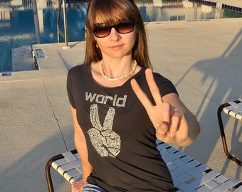 Peace shirt, World Peace, peace sign, black, cool t-shirt, back to school shirt, Alternative Apparel, graphic tee, gift for her typography