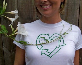 SALE, Half Price, White shirt basic, XL, women's Recycle tshirt, organic cotton, preshrunk