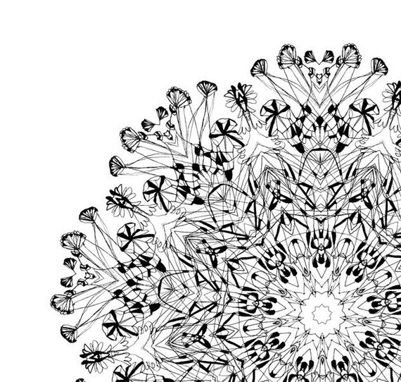 cyber monday etsy art sale Complicated Boundary - mandala pattern Archival Print black and white Fine art print giclee print