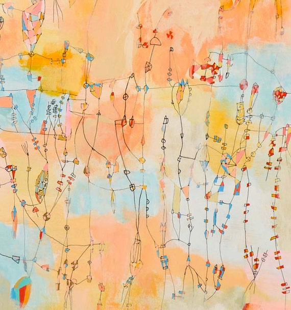 Summer in Chicago Mixed media Painting Colorful art  mixed media art  peach painting gold painting original painting 12 inches x 24 inches
