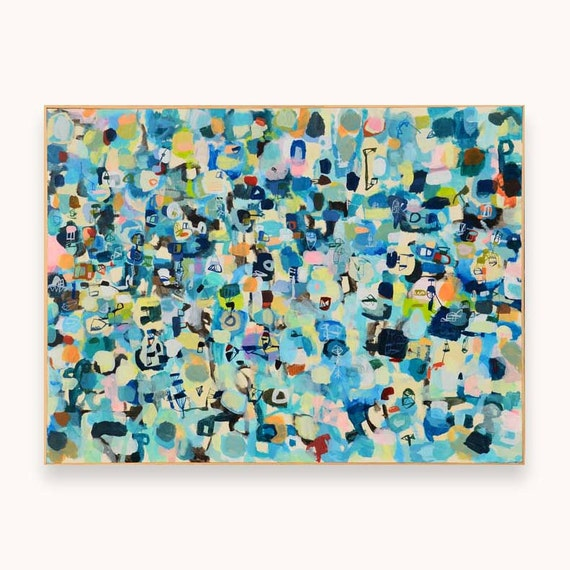 Blue City Original Large Abstract Painting original painting fine art painting original abstract painting framed 36 inches x 48 inches