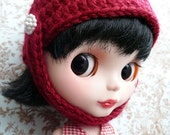 Red Riding Hood Crochet Helmet for Blythe