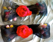 1930's Set of Black Net Horsehair Bow Floral Appliques