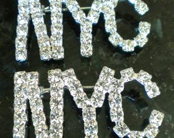 Sparkly NYC Rhinestone Pins
