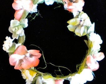 1950s Silk Rose, Carnation Bouquet and Floral Garland