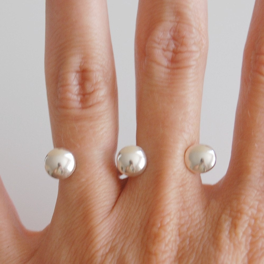 Two finger domed cap ring in sterling silver