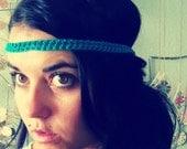 hippie headband . wrap bracelet/anklet/necklace . aqua .
