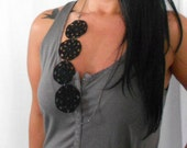 CLEARANCE . Lacy Hand Crochet Necklace with Vintage Bird Charm