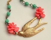 Pink Rose Bird Necklace Brass Swallow Vintage Flower Sweet Spring Coral Aqua