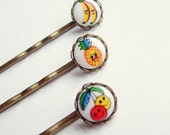 Small Glass Fruit Hair Pins Antiqued Brass Vintage Retro Glass Limoge Set of 3
