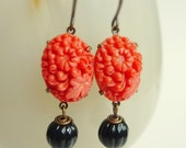 Orange Glass Flower Earrings Vintage Japanese Chrysanthemum Floral Cabochon Stones