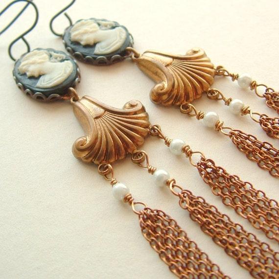 Long Black Cameo Tassel Earrings Vintage Brass Chain Victorian Portrait Shoulder Dusters
