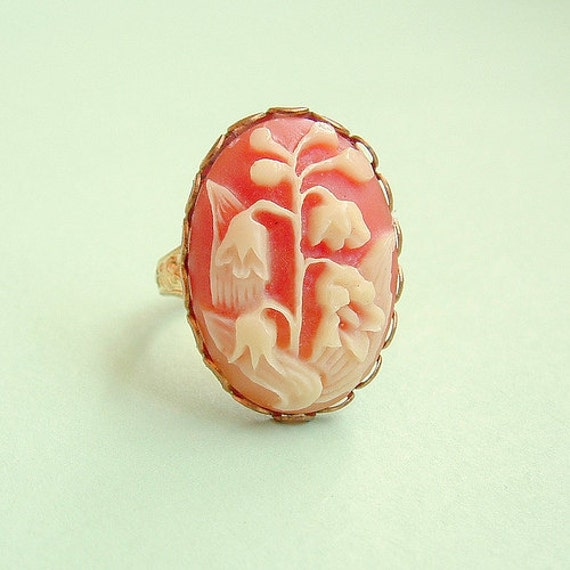 Coral Pink Victorian Floral Cameo Brass Ring Romantic Vintage Cabochon