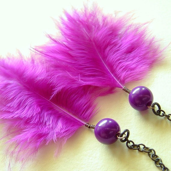 Bright Magenta Purple Large Feather Chain Earrings Eco Vintage Beads