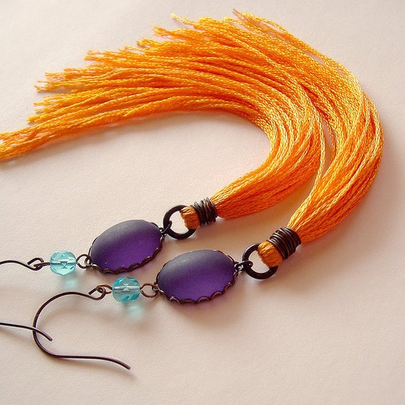Extra Long Orange Purple Tassel Earrings Vintage Thread Fringe Glass Beads