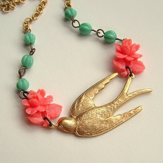 Pink Rose Bird Necklace Brass Swallow Vintage Flower Sweet Spring Coral Aqua
