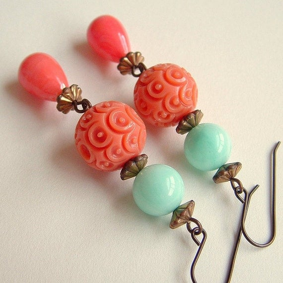 Carved Bead Earrings Rare Vintage Celluloid Turquoise Coral Spring Jewelry