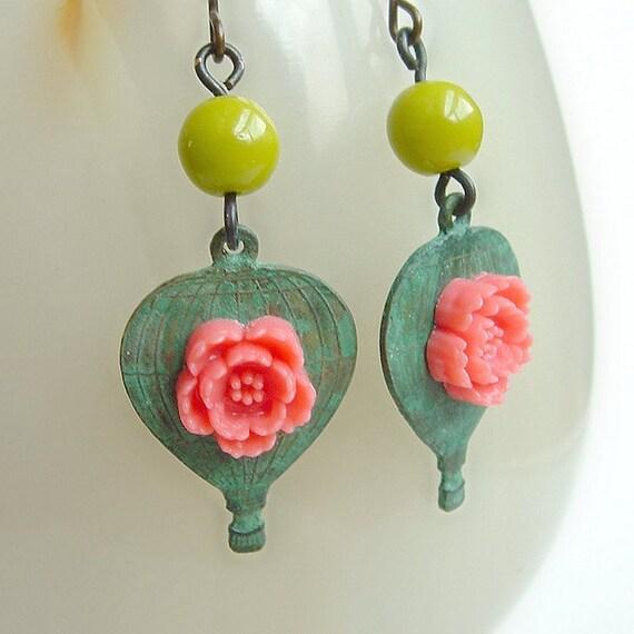 Coral Pink Aqua Hot Air Balloon Charm Earrings Verdigris Brass Vintage Beads