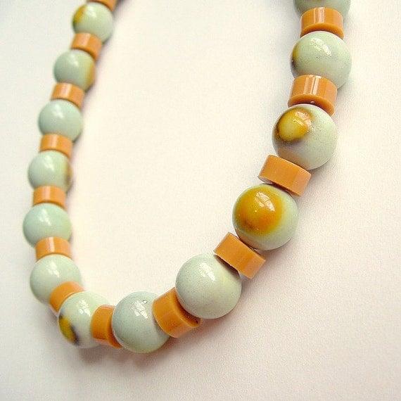 Mustard Aqua Necklace Vintage Plastic Beads Retro Beaded Fall Jewelry