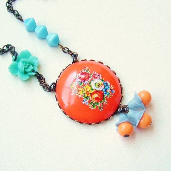 Orange Floral Cameo Necklace Vintage Flower Pendant Retro Tangerine Bouquet