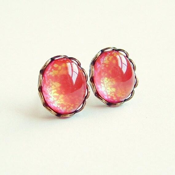 Orange Glitter Glass Stud Earrings Vintage Domed Cabochon Posts Hypoallergenic