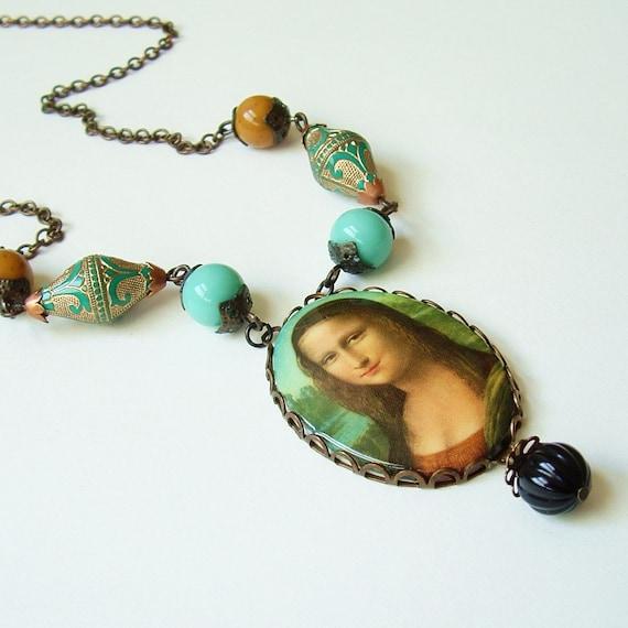 Mona Lisa Necklace Large Vintage Cameo Pendant Art History Aqua Amber Black