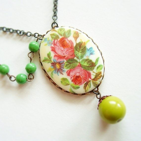 Floral Cameo Necklace Vintage Rose Pendant Green Pink Victorian Flower Bouquet 20% Off