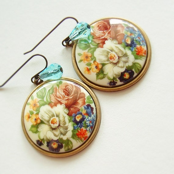 Large Floral Cameo Earrings Vintage Rose Flower Cabochons Victorian Bouquet