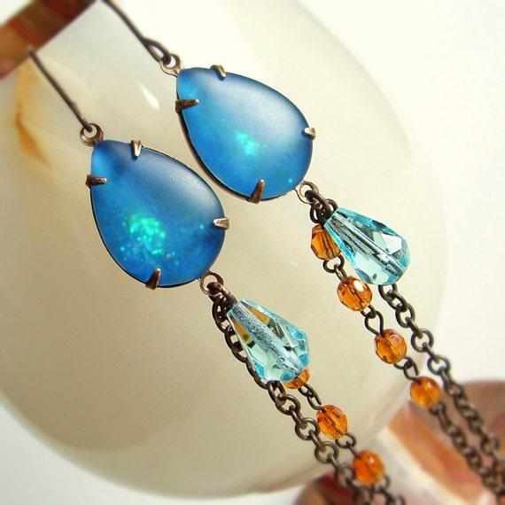 Blue Amber Jewel Earrings Vintage Glass Frosted Glitter Long Rhinestone Dangles