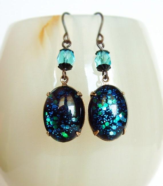 Glitter Blue Domed Glass Earrings Vintage Cabochons Jewels Starry Sky