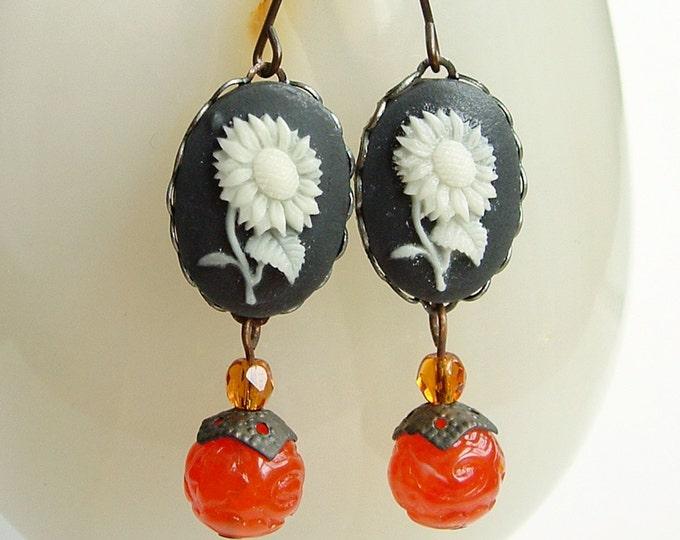 Black Floral Cameo Earrings Orange Daisy Floral Earrings Vintage Victorian Cameo Earrings Sunflower Jewelry