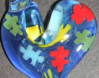 Autism Awareness support handmade glass puzzle piece pendant jewelry heart by joe crisanti glass