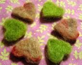 Needle Felted Hearts -- Shades of Shabby Mohair 1