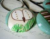Christmas Owl Fabric Button Ornaments - Holiday Decoration - Stockings Candy Canes and Evergreens Winter Button Ornaments