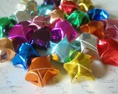 Origami Stars - 24 Rainbow Colorful Metallic Foil Lucky Stars - Gift Enclosure - Favor - Confetti - Beads - Home Decor - Arrangement
