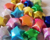 Origami Stars - 20 Embossed Rainbow Mix Origami Lucky Stars - Gift Enclosure, Favors, Confetti, Table Decor