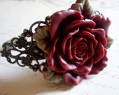 SALE - Cuff - Romantic Floral Rose Cabochon Cuff Maroon OR WHITE Bracelet - Antiqued Brass - Bohemian Vintage Inspired Style Bracelet