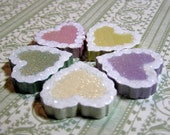 Candy Hearts - Valentine Hearts - Painted Wooden Glittery Pastel Hearts -- White Icing (Set of 5)