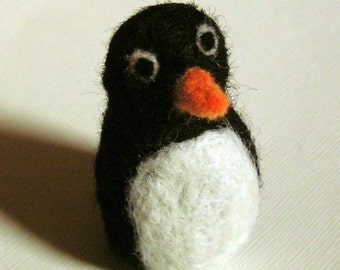 Needle Felted Penguin - Puffle the Penguin Plush Waldorf Toy Winter Decoration - Wool Critter - Felt Sculpture - Felted Animal and Bird