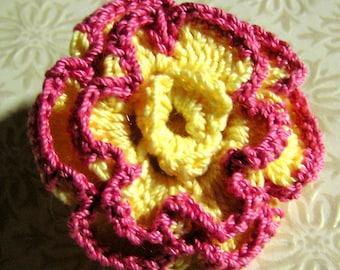 Crocheted Edged Flower Brooch